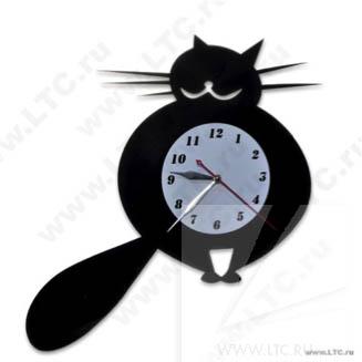 Часы Кот с лазерной резкой и аппликацией